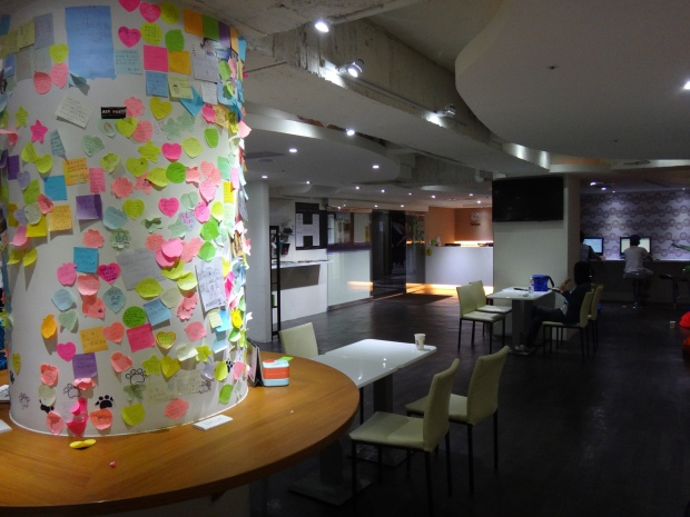 Common Room at Green World Hostel! Leave messages for their great service!