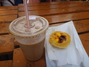 Chocolate drink and egg tart from Lord Stow's at The Venetian