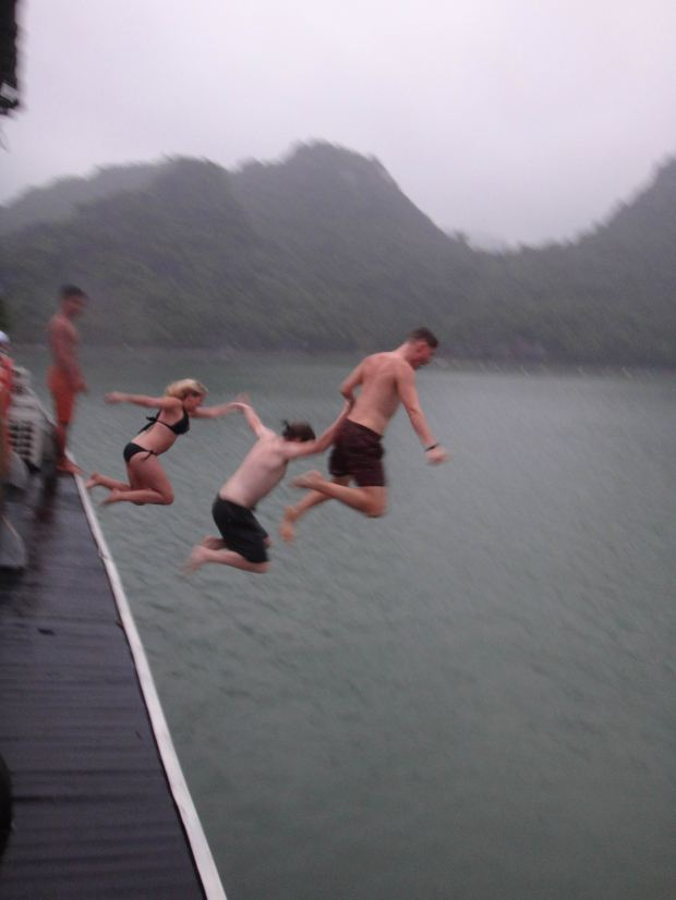 Jumping off the boat deck