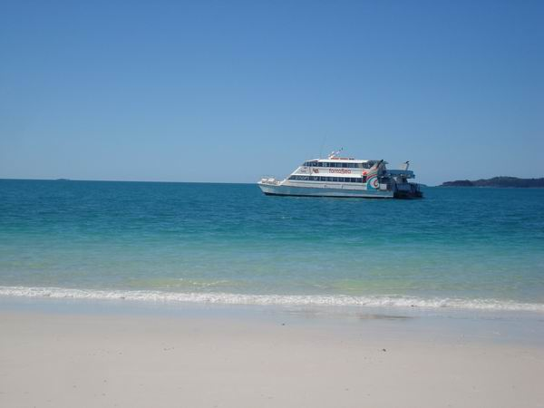 View of the Fantesea Boat from Whitehaven Beach