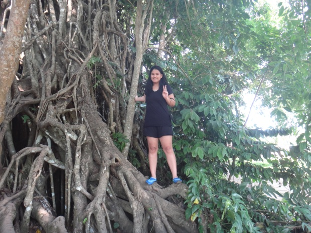 Climbing the roots of the Balete Tree