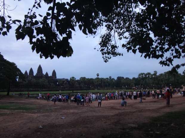 Tourists at Angkor Wat during Sunrise