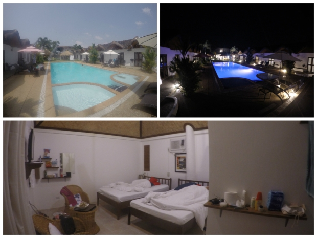 Sunz En Coron. Pool with Fountain (Top Left); Pool at night (Top Right); Our messy room (Bottom Photo)