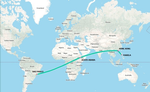 ethiopian airlines flight route manila to brazil map