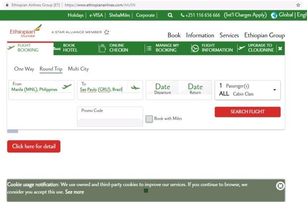 ethiopian airlines website